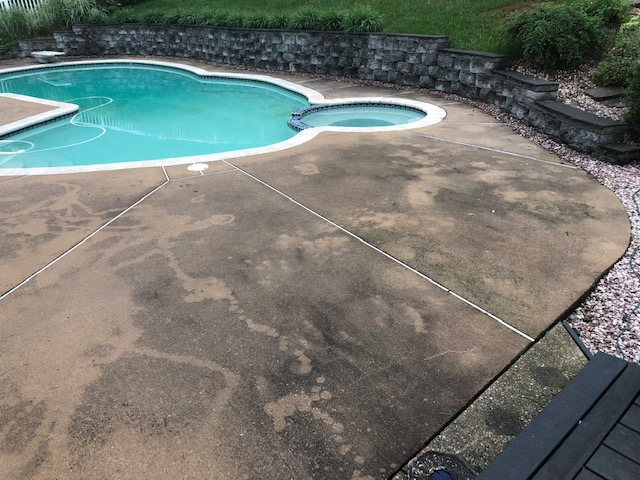 Pool Concrete Before Cleaning